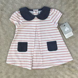Just Born Top Size 3-6 Months Pink White Stripes